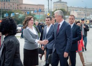 Во время осмотра Сергей Собянин пообщался с жителями Москвы