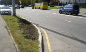 Испорченный газон на Новоданиловской набережной