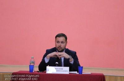 Исполняющий обязанности главы управы Донского района Дмитрий Соколов на встрече с населением