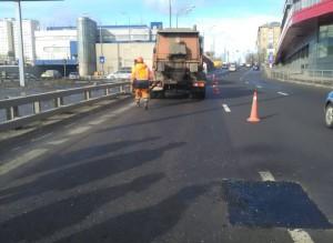 Восстановленное дорожное покрытие в районе
